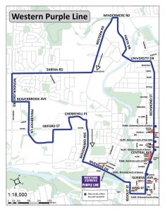 western purple line route mustang express