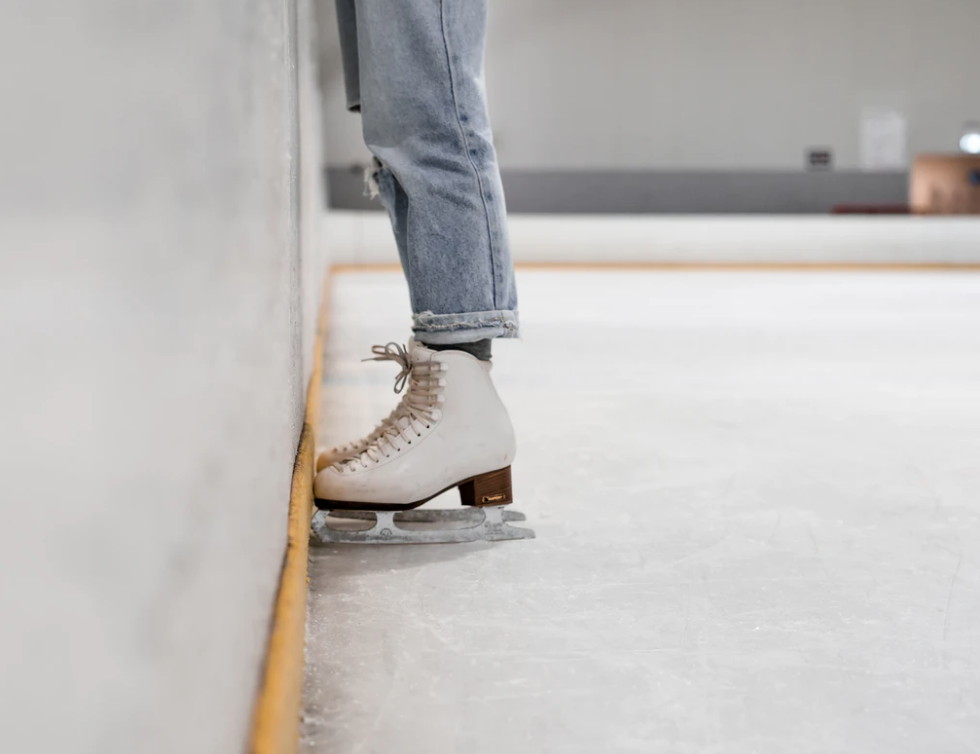 recreational skating, figure skates and jeans